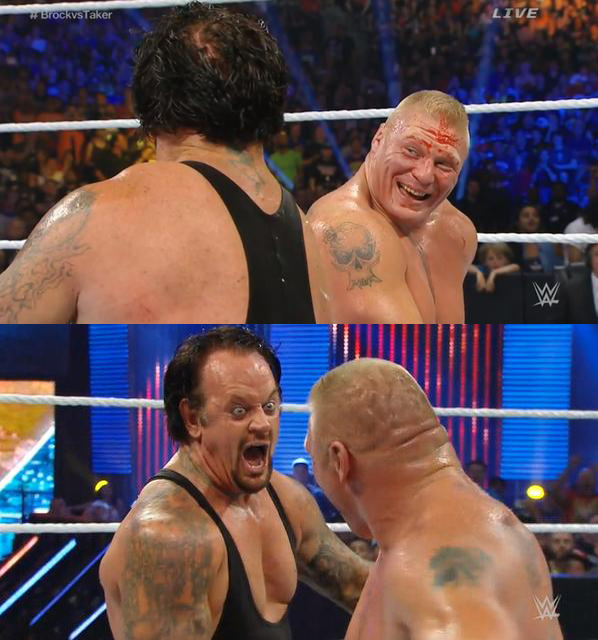 Even this bizarre moment of Taker and Lesnar laughing wasn't enough to help.