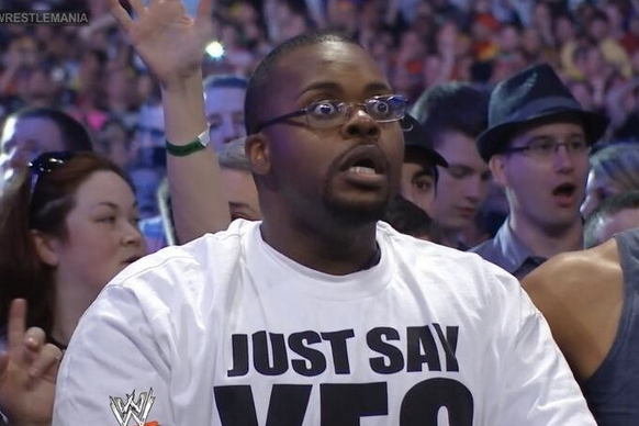 The go-to image for shocked fans over Taker's loss. This guy wanted Brock Lesnar to win, and even he was stunned.