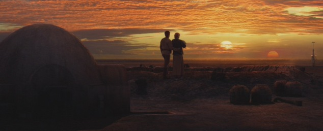 Uncle Owen, Aunt Beru and baby Luke looking at the bright future ahead of them. Fitting this is the final shot of the film since I felt the same way thinking of how I get to watch the good movies now.