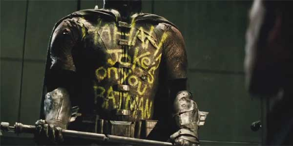 Oh dear lord. I tried to forget Suicide Squad is coming out but this movie just had to stick a random Joker reference in there for no reason other than to show Batman is really mad about stuff.