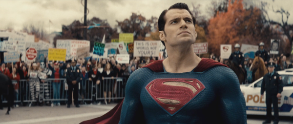Is there a single image of Superman not making a super serious face in this movie?